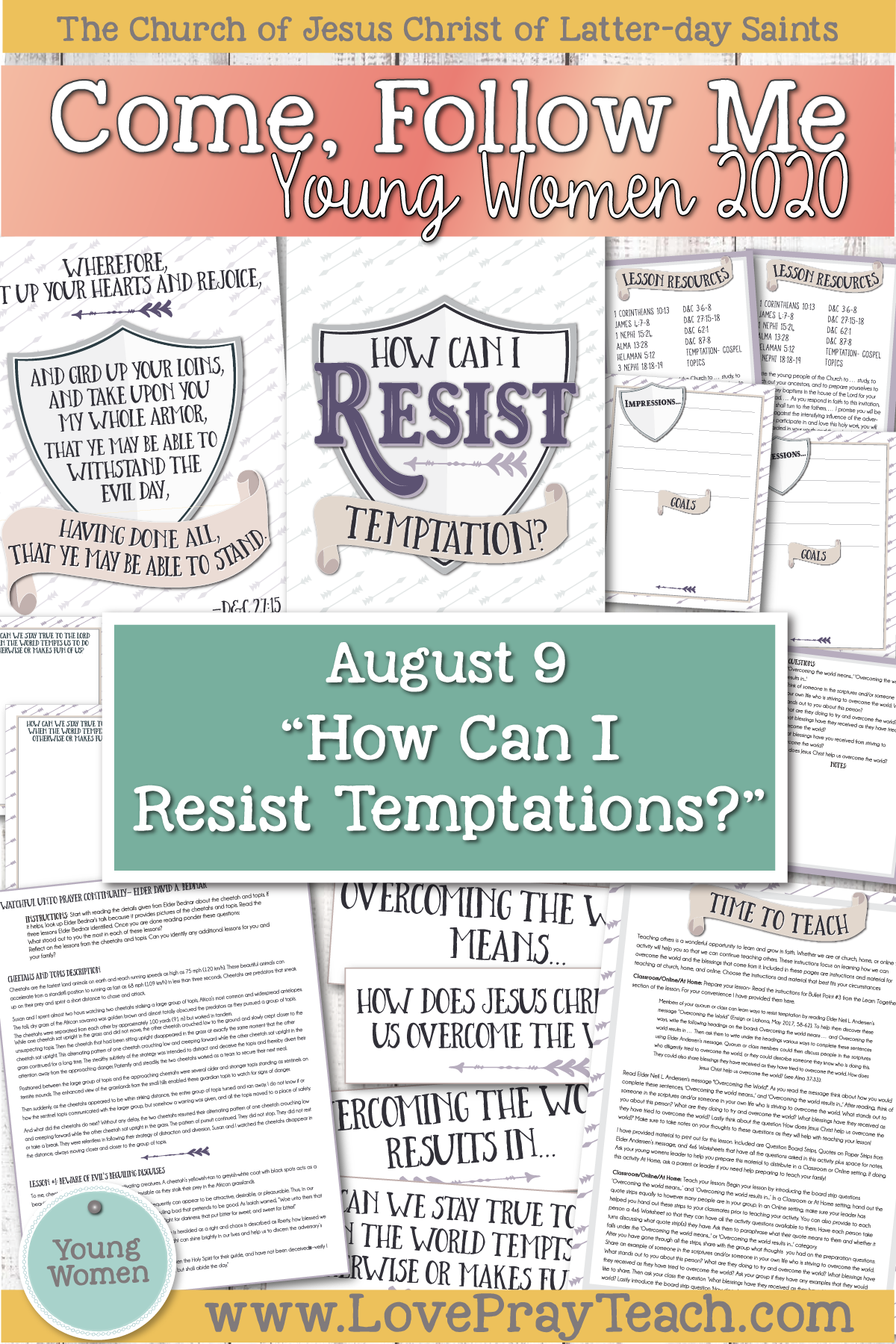 "Young Women Doctrinal Topics 2020 August 9 ""How Can I Resist Temptations?"" Alma 43–52 Printable Lesson Packet www.LovePrayTeach.com"