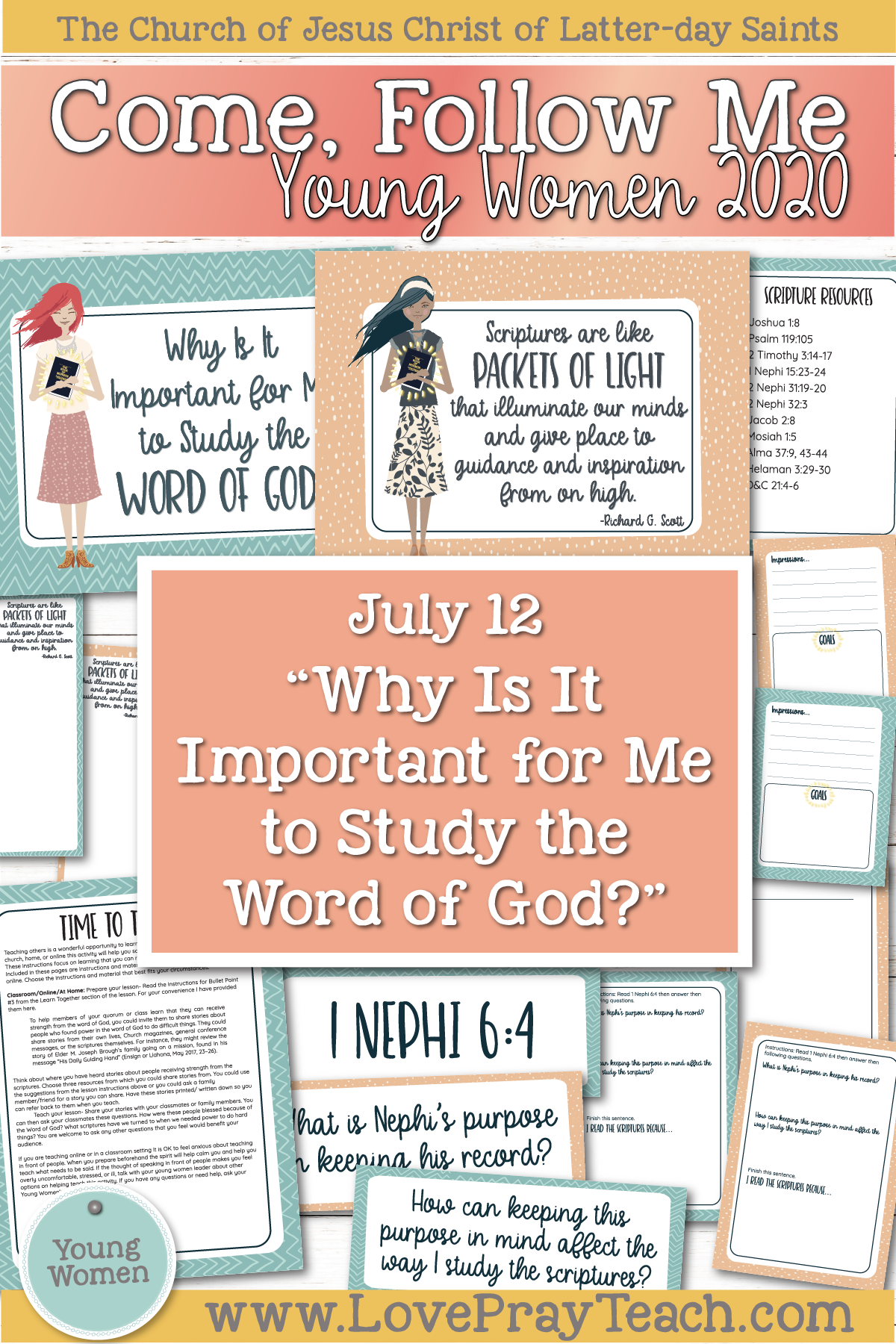 "Young Women Doctrinal Topics 2020: July 12 ""Why Is It Important for Me to Study the Word of God? Alma 30–31 www.LovePrayTeach.com"