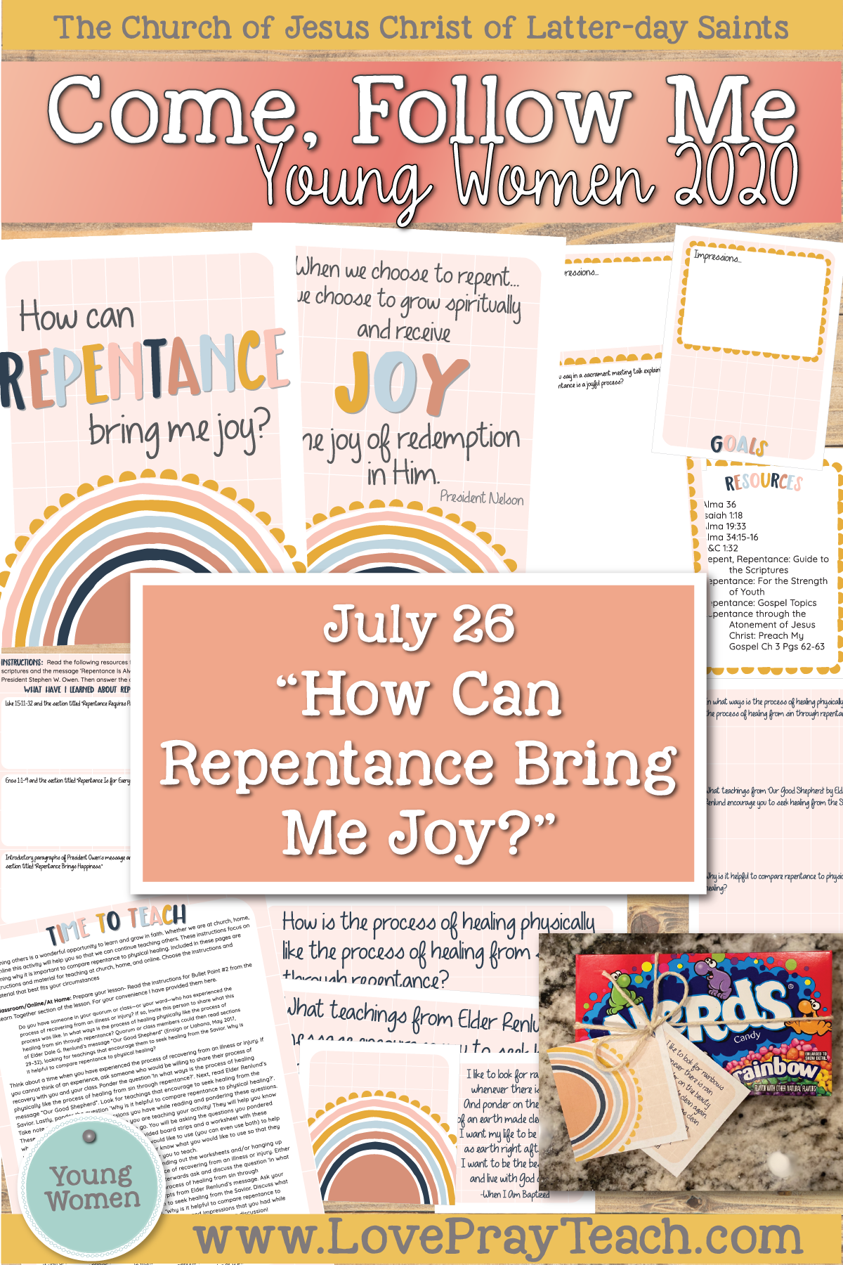 "Doctrinal Topics 2020 Come, Follow Me Young Women: July 26 ""How Can Repentance Bring Me Joy?"" Alma 36–38 Printable Lesson Packet www.LovePrayTeach.com"