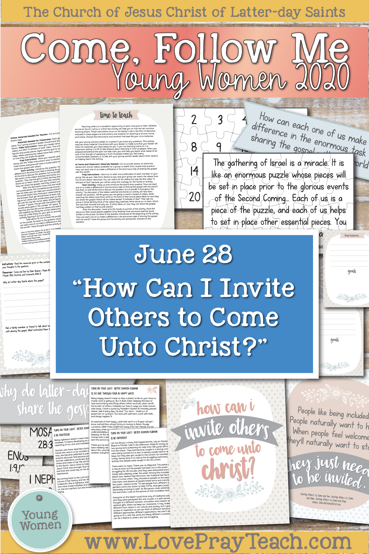 "Young Women Doctrinal Topics 2020 June 28th: ""How Can I Invite Others to Come unto Christ?"" Alma 17–22 Printable Lesson Packet on www.LovePrayTeach.com"