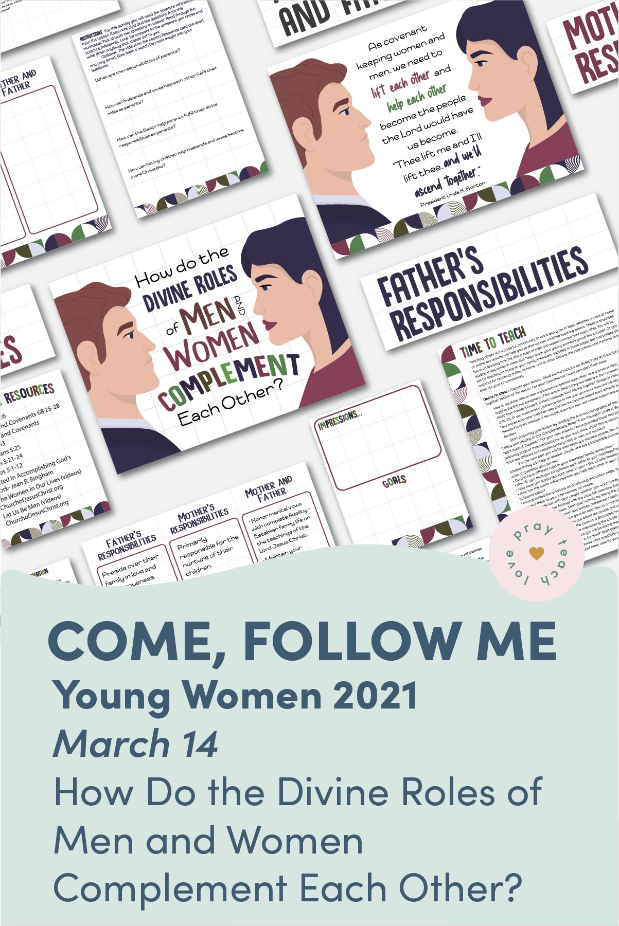 "Young Women Doctrinal Topic March 14: ""How Do the Divine Roles of Men and Women Complement Each Other?"" Printable Lesson Packet for Doctrine and Covenants 23-26"