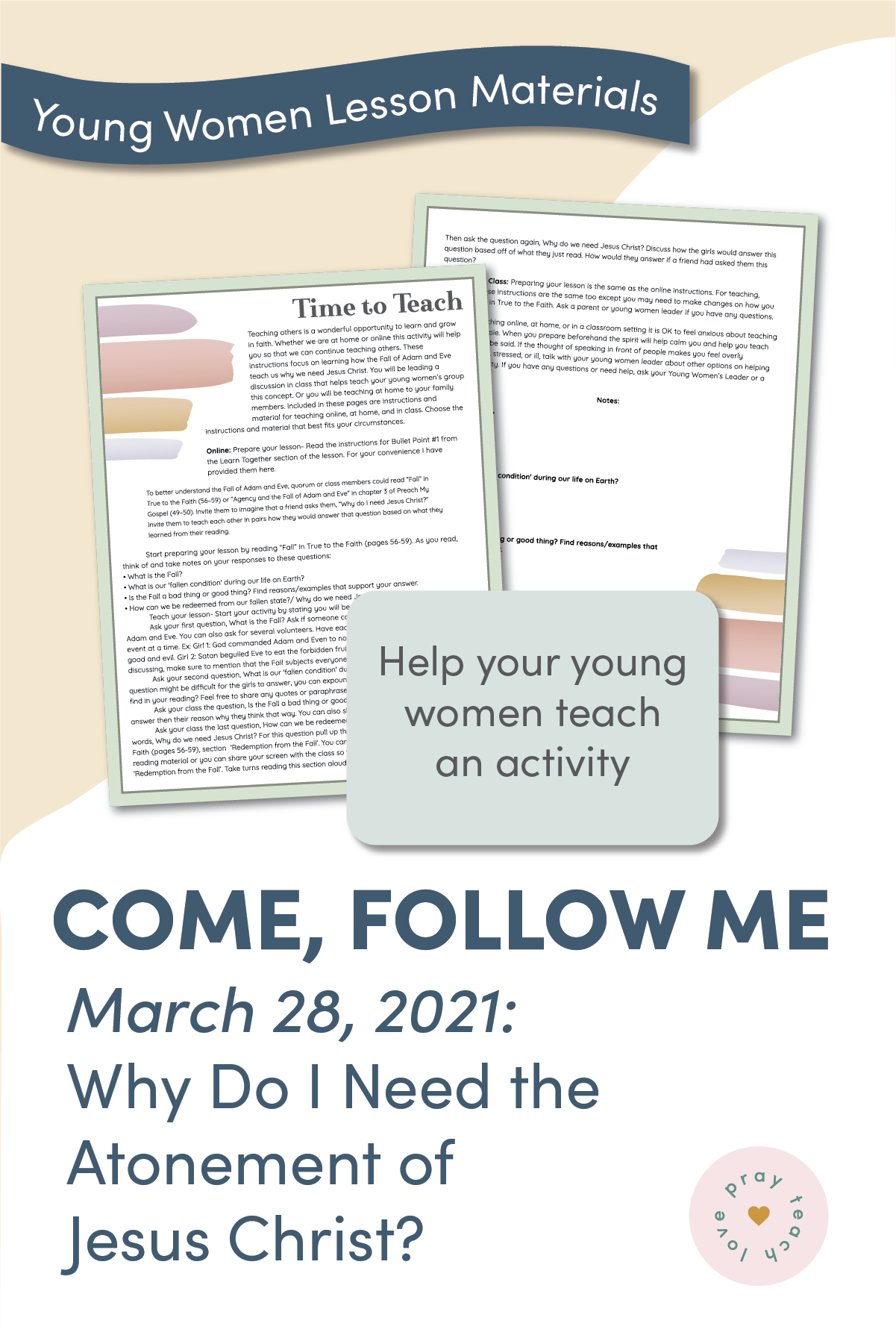 Young Women Doctrinal Topic March 28 Atonement of Jesus Christ Time to Teach