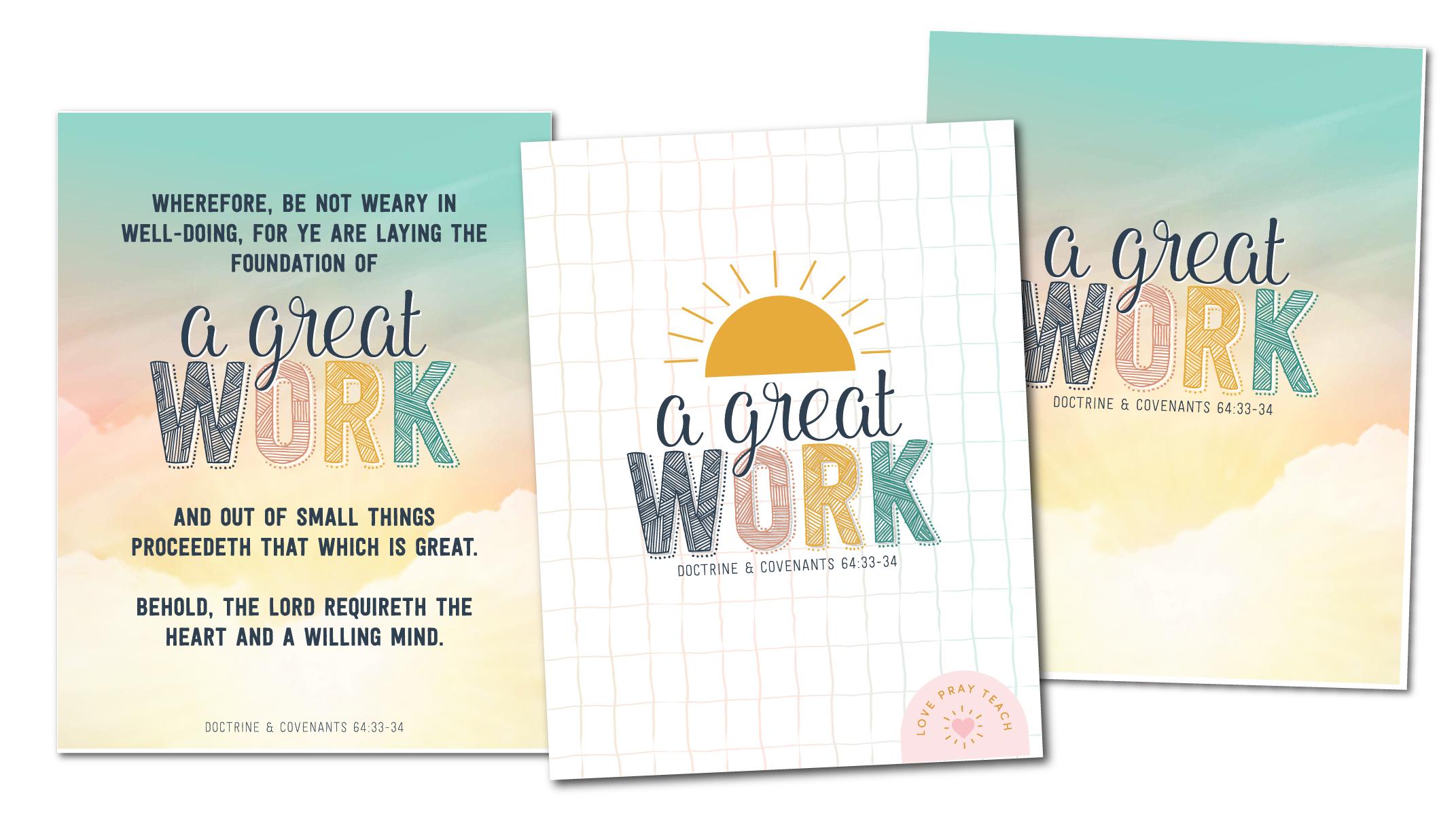 "2021 Youth Theme ""A Great Work"" Printable Packet www.LovePrayTeach.com"