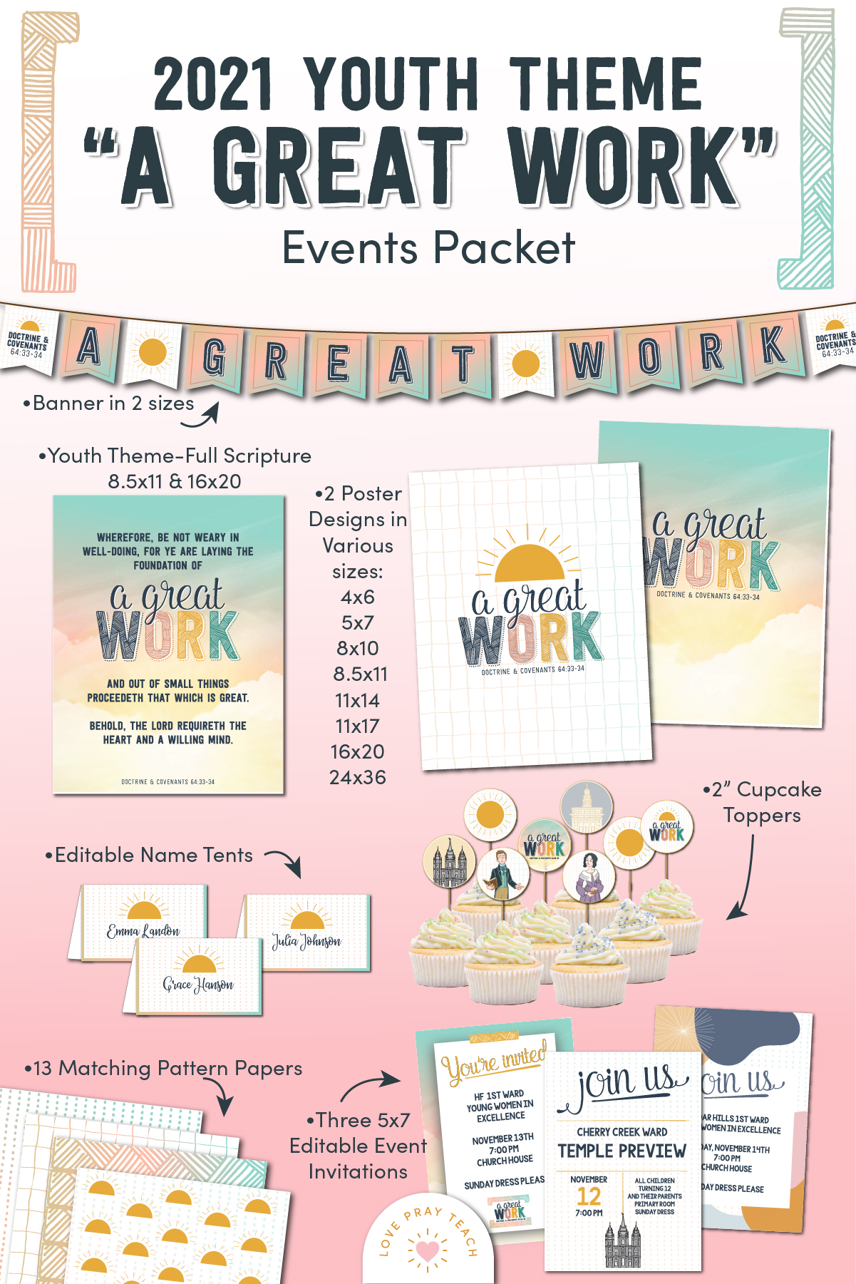 "2021 Youth Theme ""A Great Work"" Printable Packet www.LovePrayTeach.com"
